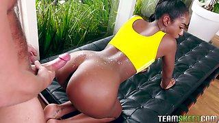 Sexy ebony babe Ashley Aleigh enjoys sucking big white dick and gets pussy nailed hard
