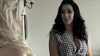Hot & Mean brunette lesbian fucks blonde wife with strap-on