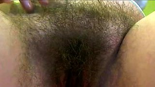 Amateur babe rubs her hairy peach and fingers her tight ass