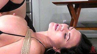 horny lesbian milfs try rope bondage and kinky sex toys