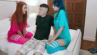 Hot Lesbian Teen Step Sisters Threesome With Little Step Brother
