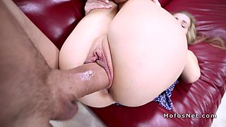 Blonde spinner throatgags huge dick and fucks