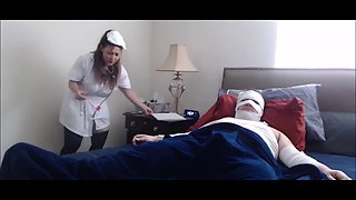 Nurse with big tits and big ass riding on cock