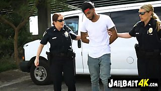 Horny cops arrest a black dude to fuck him hard after seeing his massive cock. Check the full video