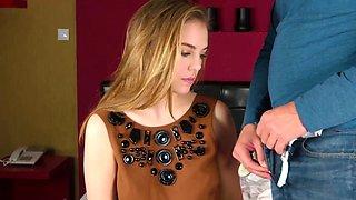 Pretty redhead Alesya Gagarina shows hymen and touches a big