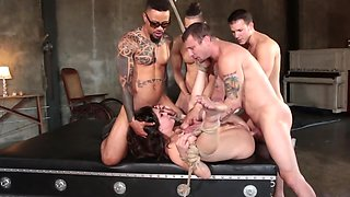 Four blokes gangbang this poor single and tied up lady