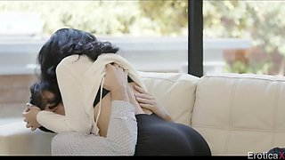 Having exposed her pubic hair to stepdad horny brunette Kristina Rose gives BJ