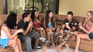 Hot teens Leah, Lina and playing strip poker and fucking