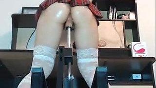 Tight ass tartan skirt machine fucked fingerring and squirt