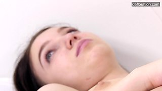 Nice and steamy defloration video with charming dark haired Glasha Belkina