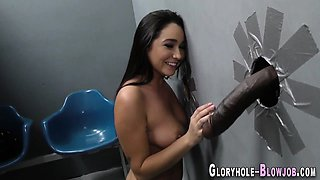 Busty babe gobbles bbc