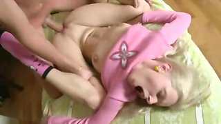 Young blonde Russian teen in pigtails gets her ass stuffed