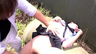 Dazzling Asian schoolgirl treated to a rough banging outside