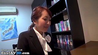 Jav office lady in tights meets new horny boss