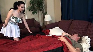 Old man fucks young busty brunette in the ass