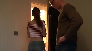 Shy Innocent Teen in Glasses Used By Owner of an Apartment