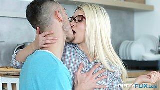 Nerdy auburn gal Cornelia flashes tits and rewards man with a nice head