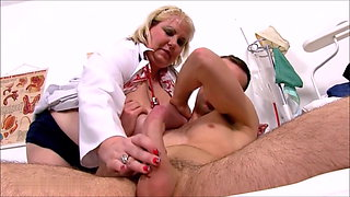 Fat Old Whore June Kelly fingered asshole by young man
