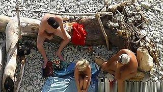Hot nudist blonde banged in the beach