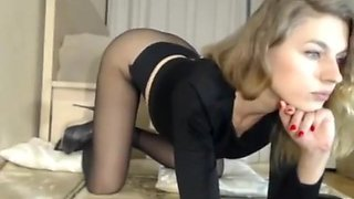 Long legs blonde Beauty in pantyhose and heels sexy posing and masturbation