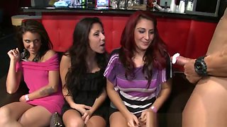 Partying CFNM sluts sucking strippers cock