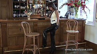 After her shift in the bar is over kinky latex nympho exposes her sexy curves