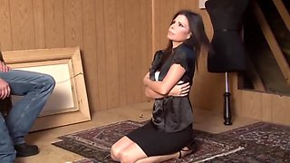 MILF forced to strip naked in the attic CMNF