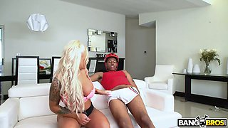 Jogging busty and bootyful chick Brandi Bae bangs black dude under husband's nose