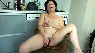 Granny mature masturbate with orange dildo compilation
