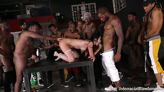 Naughty Asian bitch Marica Hase happily blows strong black cocks dry