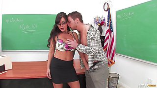 Naughty Student Punished His Busty Teacher During Lessons