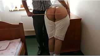 Caning big juicy booty of my submissive white wife