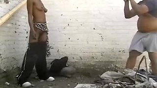 My friend drilled slim darksome whore behind the building outdoor