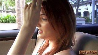 Breasty redhead legal age teenager Rania Belle fellatio and gangbanged in a car