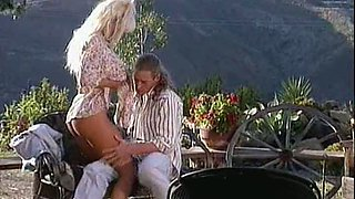Hot blonde babe Barbi fucks everything that moves. Deep cock penetration