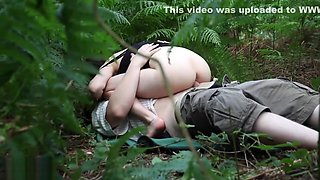 Petite cutie gives great blowjob and fucks in the woods