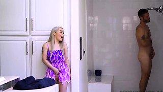 Teen feeling horny watching dad showers