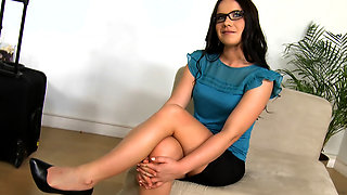 Business babe in glasses fucked like a hot slut