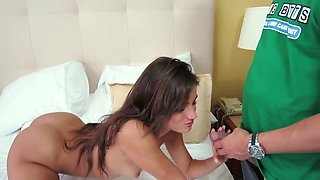 Natural-looking brunette is banging her horny boyfriend