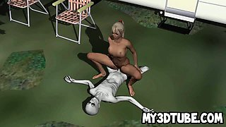 Hot 3D cartoon blonde getting fucked hard by an alien