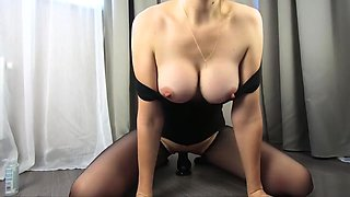 MILF jumping on top of a huge dildo in pantyhose - CatherineRain