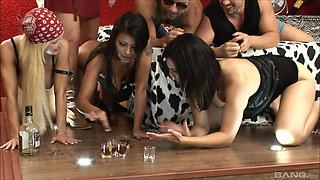 Group sex with a couple of horny dudes and amazing pornstars