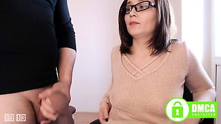 Big breasted milf with glasses sits on top of a thick cock