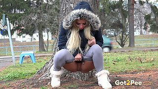 Sexy Victoria Pure doesn't enjoy feeling of a full bladder and it shows