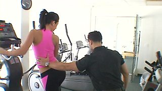 Brunette Pornstar Rides a Large Shaft After Gym Class