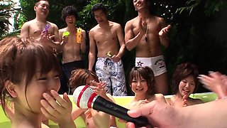A bunch of Japanese bikini babes have a wrestling match!