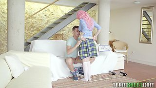 Fresh pink haired babe Mia Evans spreads legs for sensual missionary