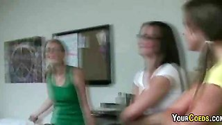 Nasty college coeds prancing around in front of the guys