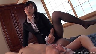 Hot Japanese woman tries hard sex at work with the new guy