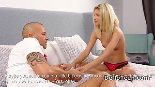 Small titted blonde virgin Martina Vilaggio is devirginized